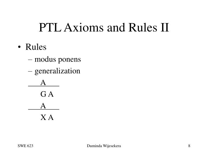 PTL Axioms and Rules II