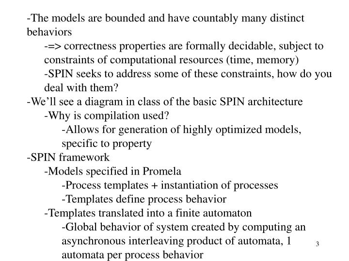 The models are bounded and have countably many distinct behaviors