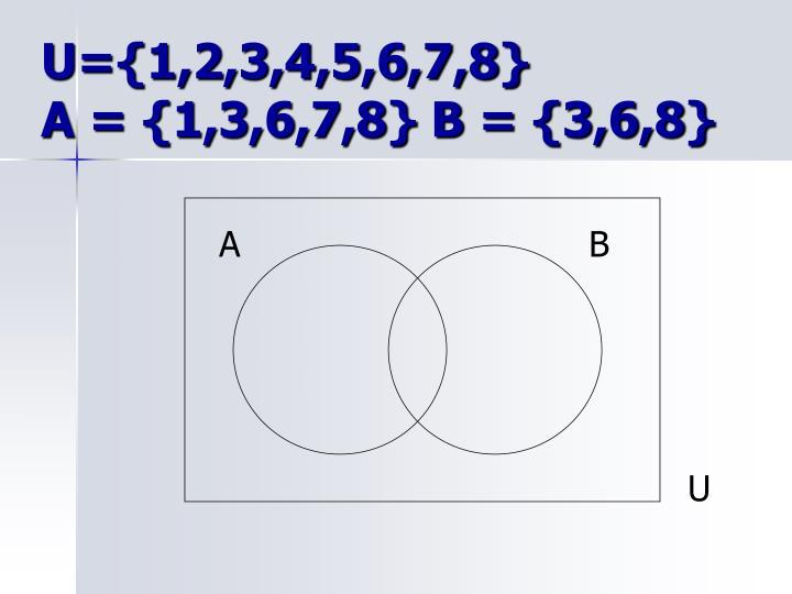 U={1,2,3,4,5,6,7,8}