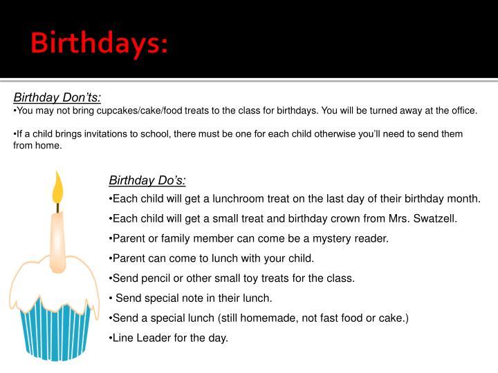Birthdays: