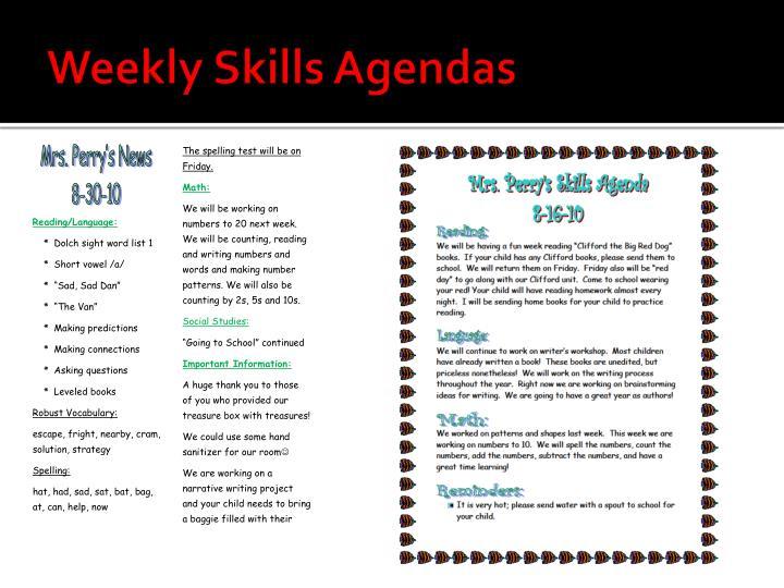 Weekly Skills Agendas