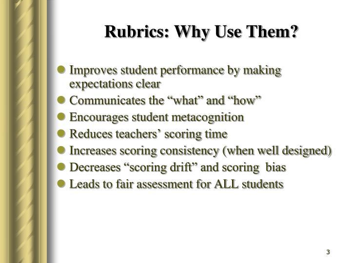 Rubrics: Why Use Them?