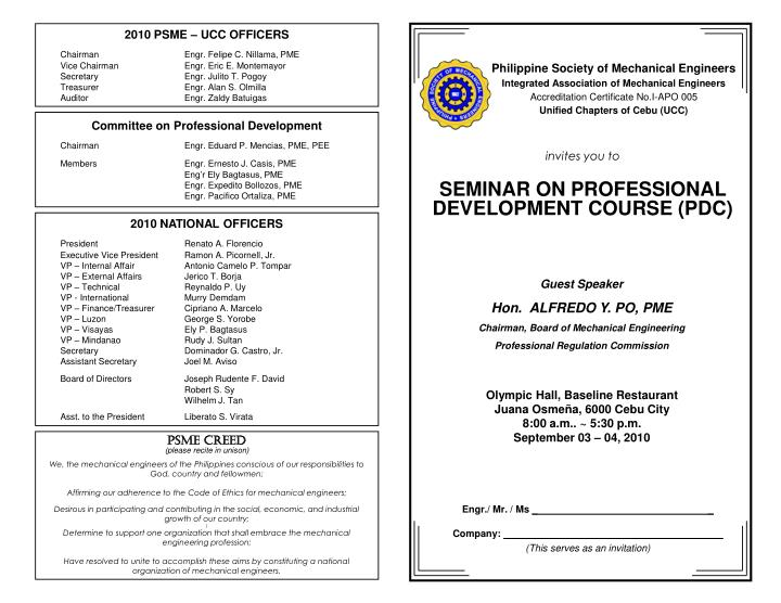 Invites you to seminar on professional development course pdc