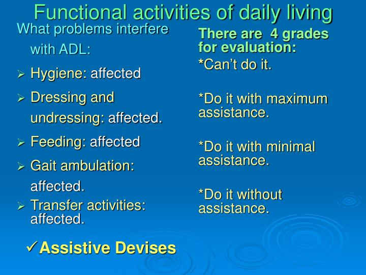 Functional activities of daily living