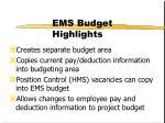 ems budget highlights