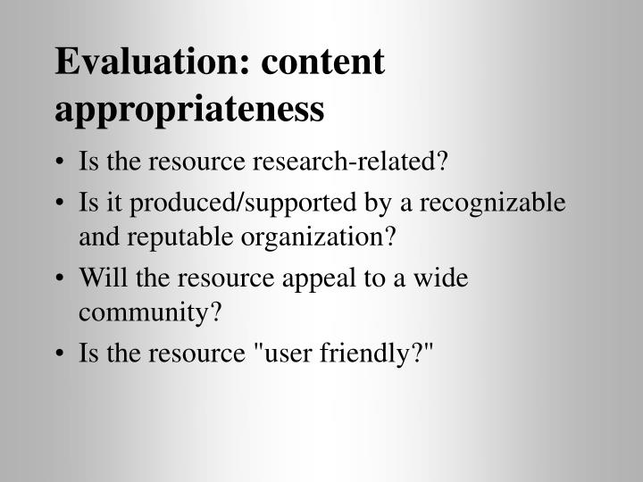 Evaluation: content appropriateness