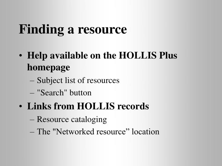 Finding a resource