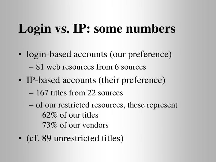 Login vs. IP: some numbers