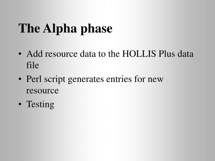 The Alpha phase