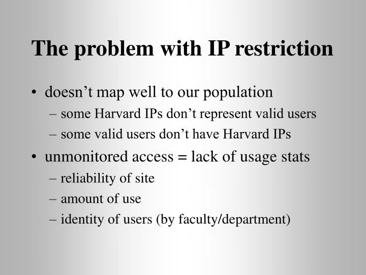 The problem with IP restriction