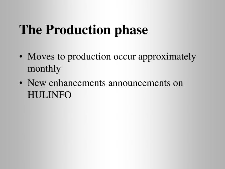 The Production phase