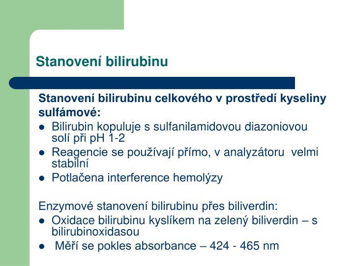 Stanovení bilirubinu