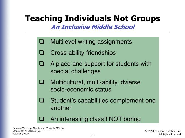 Teaching Individuals Not Groups