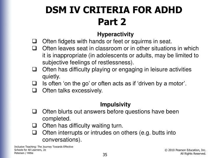 DSM IV CRITERIA FOR ADHD