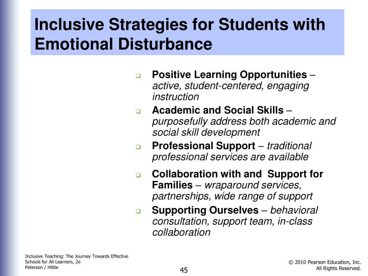 Inclusive Strategies for Students with Emotional Disturbance