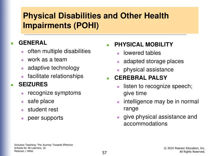 Physical Disabilities and Other Health Impairments (POHI)