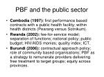 pbf and the public sector