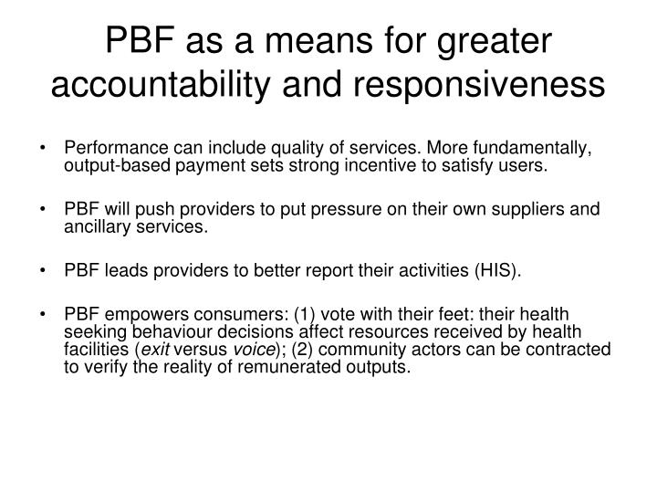 PBF as a means for greater accountability and responsiveness