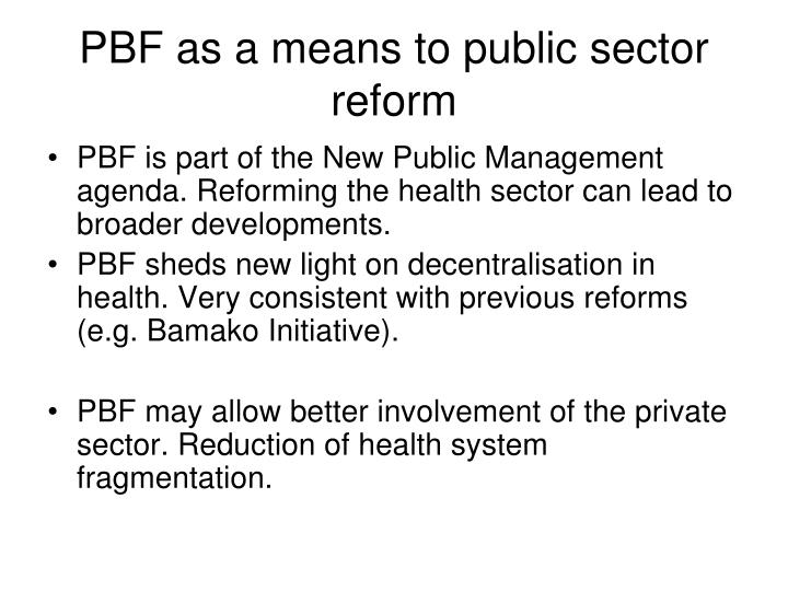 PBF as a means to public sector reform