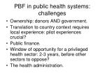 pbf in public health systems challenges