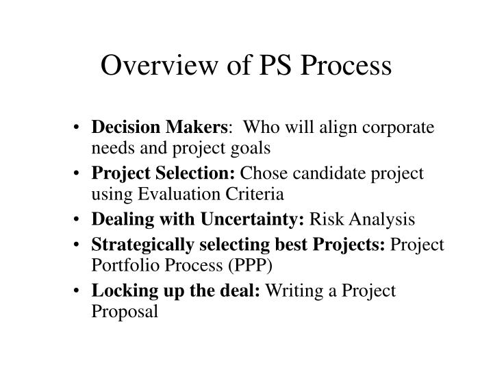Overview of PS Process
