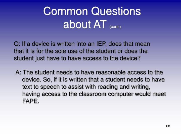 Common Questions about AT