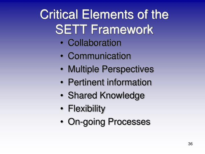 Critical Elements of the