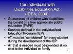 the individuals with disabilities education act idea 2004