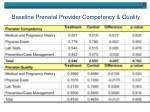baseline prenatal provider competency quality
