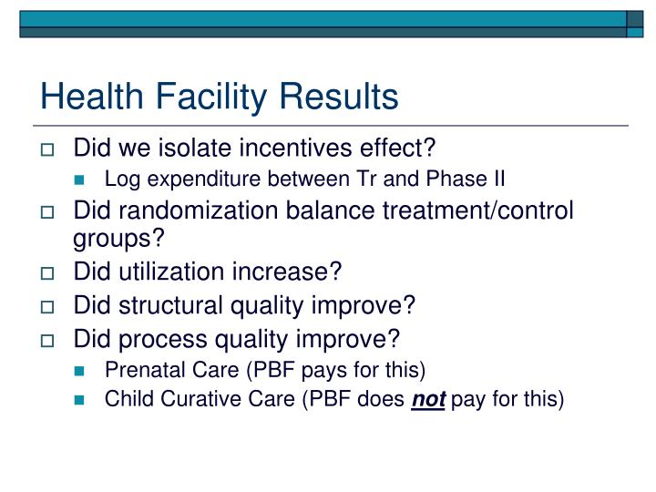 Health Facility Results