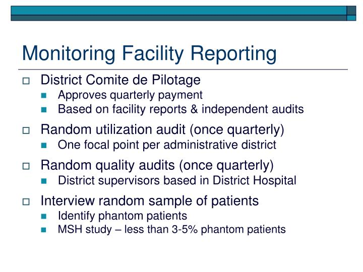 Monitoring Facility Reporting