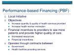 performance based financing pbf
