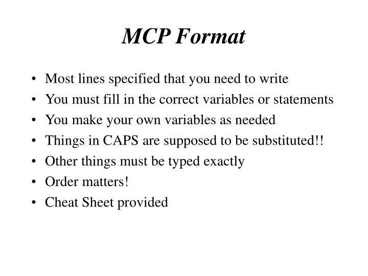 MCP Format