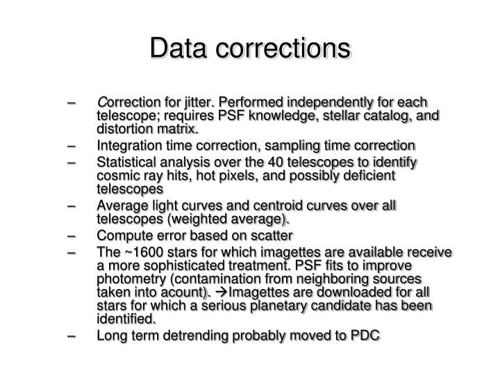 Data corrections