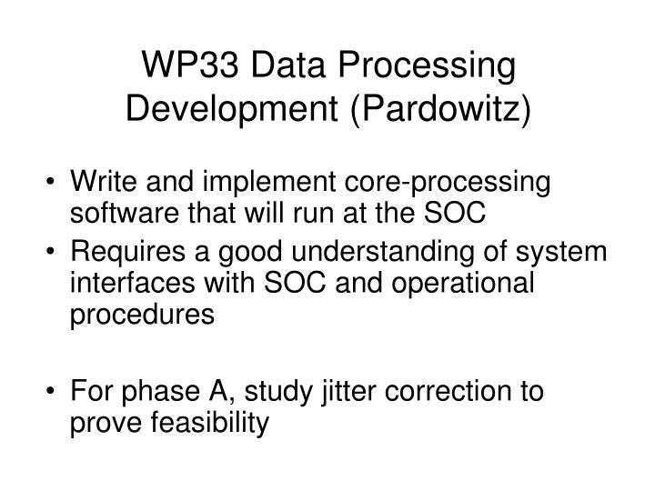 WP33 Data Processing