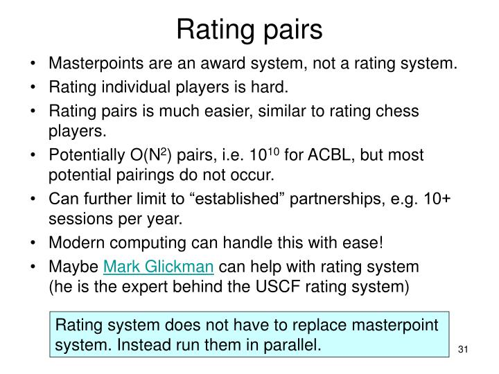 Rating pairs