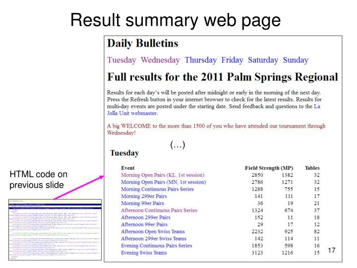 Result summary web page