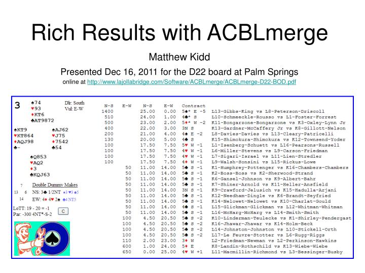 Rich results with acblmerge