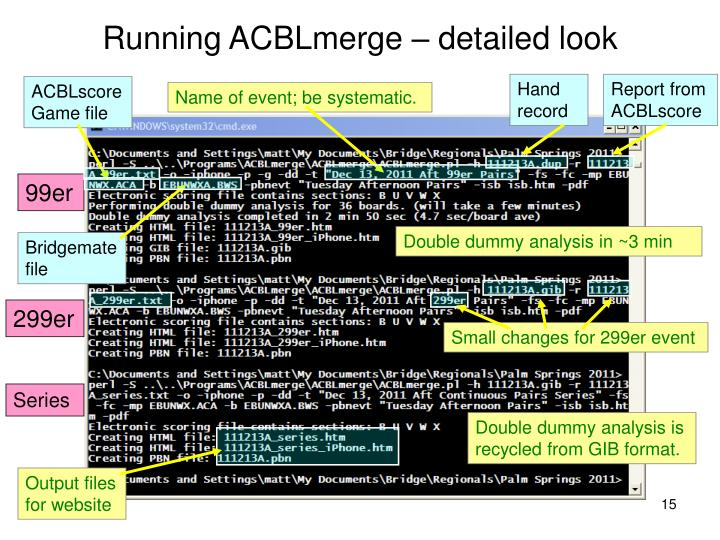 Running ACBLmerge – detailed look