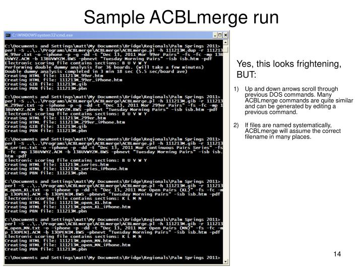 Sample ACBLmerge run