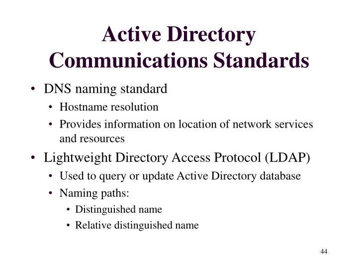 Active Directory Communications Standards