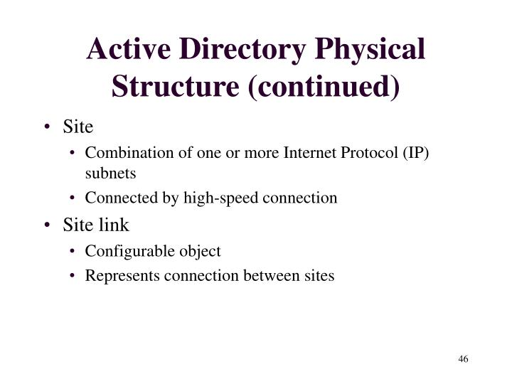 Active Directory Physical Structure (continued)