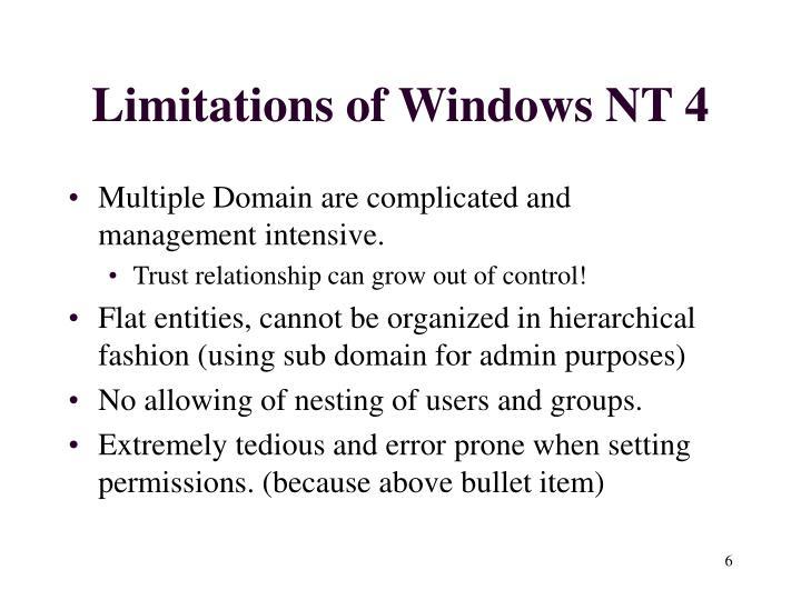 Limitations of Windows NT 4