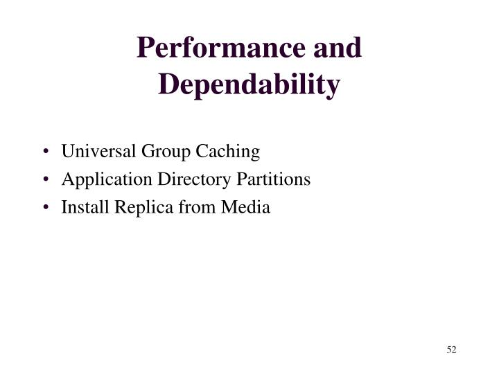 Performance and Dependability