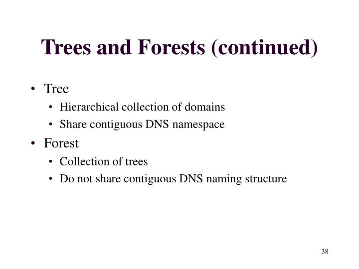 Trees and Forests (continued)