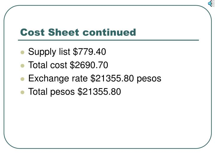 Cost Sheet continued