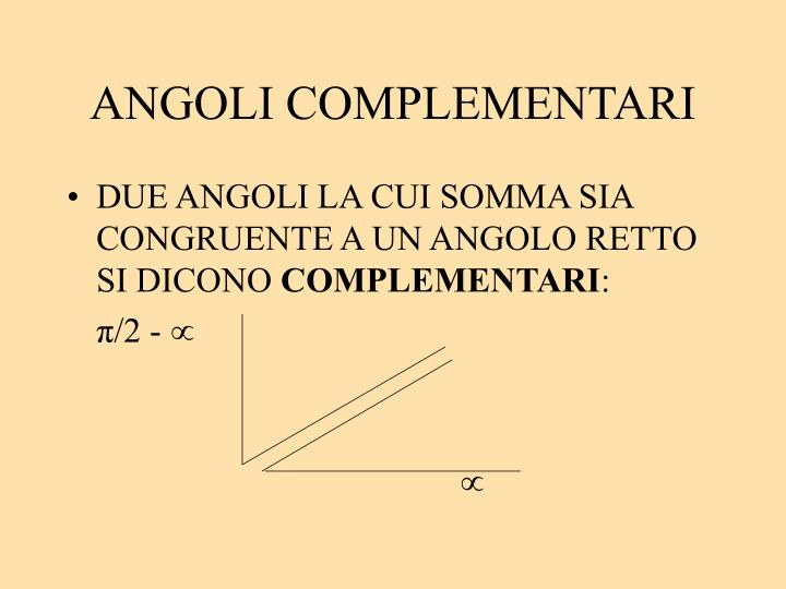 ANGOLI COMPLEMENTARI