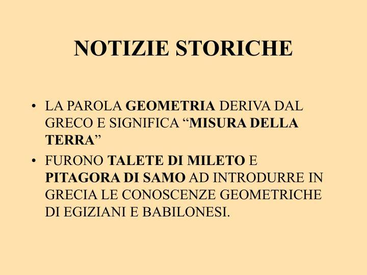 NOTIZIE STORICHE