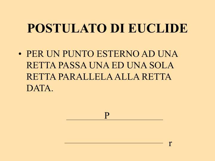 POSTULATO DI EUCLIDE