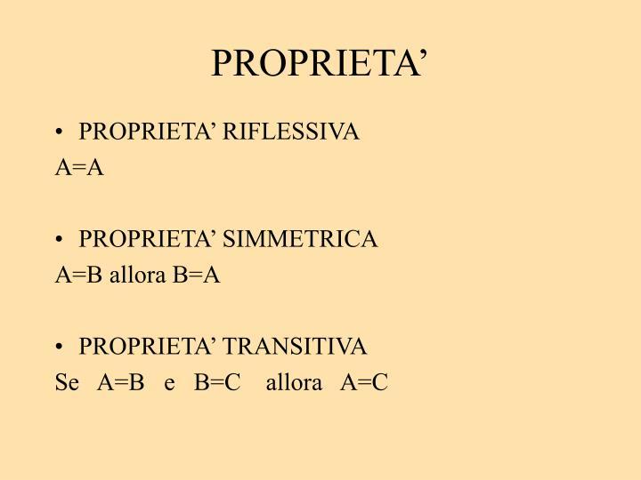 PROPRIETA'